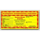 "5x10-1/2"" Accumulation Container Vinyl Labels 100/pkg"