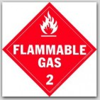 Flammable Gas Class 2 Polycoated Tagboard Placards 25/pkg