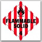 Flammable Solid Class 4 Self Adhesive Vinyl Placards 25/pkg