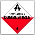 Spontaneously Combustible Class 4 Polycoated Tagboard Placards 25/pkg