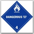 Dangerous When Wet Class 4 Self Adhesive Vinyl Placards 25/pkg