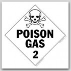 Poison Gas Class 2 Self Adhesive Vinyl Placards 25/pkg