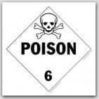Poison Class 6 Self Adhesive Vinyl Placards 25/pkg