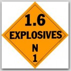 Class 1.6 Explosives Polycoated Tagboard Placards 25/pkg