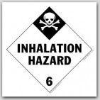 Inhalation Hazard Class 6 Self Adhesive Vinyl Placards 25/pkg