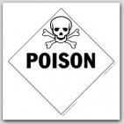 Poison Class 6 Polycoated Tagboard Placards 25/pkg