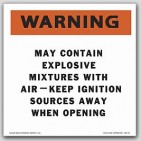 Warning Keep Ignition Sources Away Self Adhesive Vinyl Placards 25/pkg