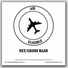 "4x4"" Air Eligible Net Gross Mass Vinyl Labels White and Black 500/rl"