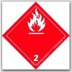 "4x4"" Class 2 Gases Paper Labels 500/rl"