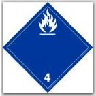 "4x4"" Class 4 Flammable Solids Vinyl Labels 500/rl"