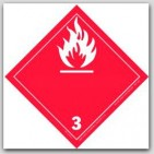 "4x4"" Class 3 Flammable Liquids Vinyl Labels 500/rl"