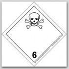 "4x4"" Class 6 Toxic and Infectious Substances Vinyl Labels 500/rl"
