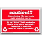 "5x8"" Caution Static Electrical Charge Labels 500/rl"