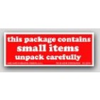 """1-1/2x4"""" Contains Small Items Shipping Labels 500/rl"""