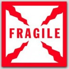 "8x8"" Fragile Labels sheeted 100/pkg (Meets military standard.)"