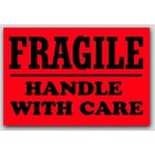 "3x4"" Handle with Care Fragile Labels 500/rl"
