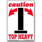 "4x6"" Caution Top Heavy Arrow Labels 500/rl"