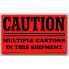 """3x5"""" Caution Multiple Cartons Shipping Labels 500/rl"""