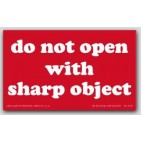 "3x5"" Do Not Open With Sharp Object Labels 500/rl"