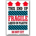 "4x6"" Liquid In Plastic Fragile Labels 500/rl"