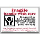 """4x6"""" Inspect For Damage Fragile Labels 500/rl"""