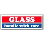 "1x3"" Handle with Care Glass Labels 500/rl"