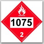 Placards Printed UN1075 Liquefied Petroleum Gason self adhesive vinyl. 25/pkg