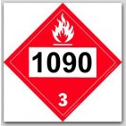 Printed UN1090 Acetone Polycoated Tagboard Placards 25/pkg