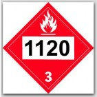 Printed UN1120 Butanols Polycoated Tagboard Placards 25/pkg