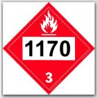 Printed UN1170 Ethyl Alcohol, Ethanol, Ethanol Solution Polycoated Tagboard Placards 25/pkg