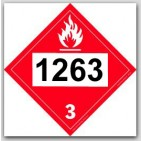 Placards Printed UN1263 Paint Flammable Liquid on self adhesive vinyl. 25/pkg