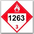 Placards Printed UN1263 Paint Combustible Liquid on self adhesive vinyl. 25/pkg