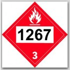 Printed UN1267 Petroleum Crude Oil Polycoated Tagboard Placards 25/pkg