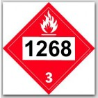 Printed UN1268 Petroleum Distillate's, n.o.s. Flammable - Polycoated Tagboard Placards 25/pkg