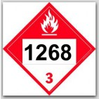 Printed UN1268 Petroleum Distillate's, n.o.s. Combustable - Polycoated Tagboard Placards 25/pkg