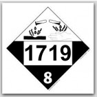 Printed UN1719 Caustic Alkalis Liquids, n.o.s. Polycoated Tagboard Placards 25/pkg