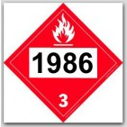Printed UN1986 Denatured Alcohol, Propargyl Alcohol, Alcohols Toxic, n.o.s. Tagboard Placards