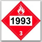 Printed UN1993 Flammable Liquids, n.o.s, Fuel Oil Polycoated Tagboard Placards 25/pkg