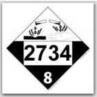 Placards Printed UN2734 Amines, n.o.s. or Polyamines n.o.s.on self adhesive vinyl. 25/pkg