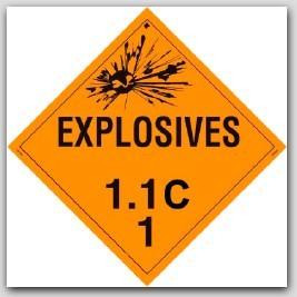 Class 1.1c Explosives Self Adhesive Vinyl Placards 25/pkg