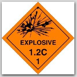 Class 1.2c Explosives Self Adhesive Vinyl Placards 25/pkg