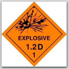 Class 1.2d Explosives Self Adhesive Vinyl Placards 25/pkg