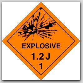 Class 1.2j Explosives Self Adhesive Vinyl Placards 25/pkg
