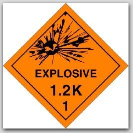 Class 1.2k Explosives Self Adhesive Vinyl Placards 25/pkg