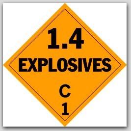 Class 1.4c Explosives Self Adhesive Vinyl Placards 25/pkg