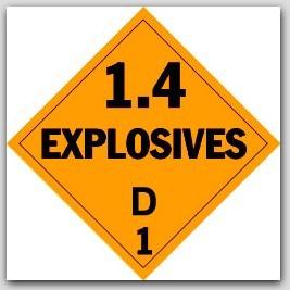 Class 1.4d Explosives Self Adhesive Vinyl Placards 25/pkg