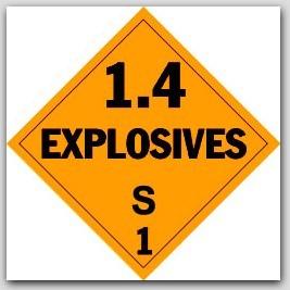 Class 1.4s Explosives Self Adhesive Vinyl Placards 25/pkg