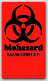 """2x3-1/2"""" Labels Biohazard Hazard Identity 500/rl"""