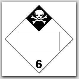 Inhalation Hazard Class 6 Self Adhesive Vinyl Placards 25/pkg