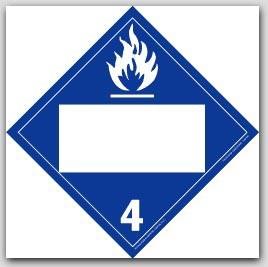 Dangerous When Wet Class 4 Self Adhesive Vinyl Placards 25/pkg